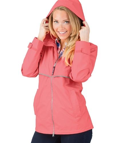 vendor-unknown Rain Jackets XSmall Monogrammed Rain Jacket - Coral