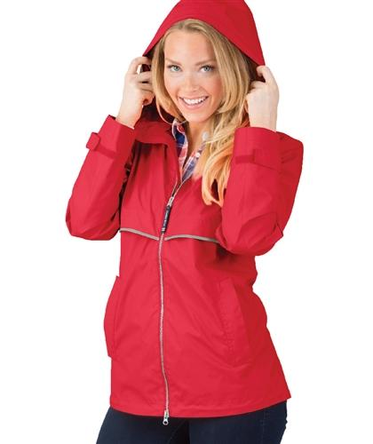 vendor-unknown Rain Jackets XSmall Monogrammed Rain Jacket - Red