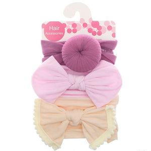 New Solid Nylon baby headband 3pc set Bow Headbands For Cute Kids Girls Hair Girls Turban Hairband Children Soft Cotton