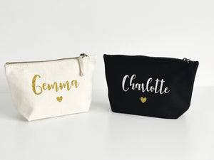 Small Bucket Cosmetic Bag - Black or Cream