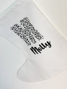 Personalised White Stocking - Leopard Print Letter