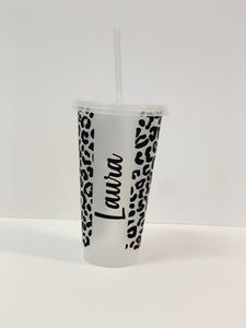 Frosted Cup with Lid & Straw - Leopard and Name