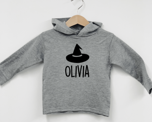Halloween Witch Hat - Grey Long Sleeved Hooded Top