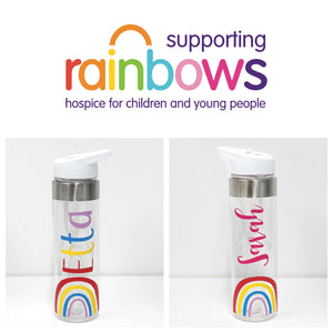 Rainbow Water Bottle - Rainbows Children's Hospice - Joined Bluebell Font