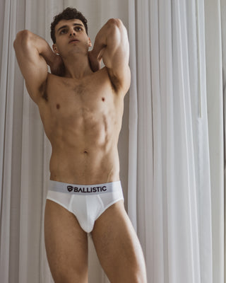 Ballistic White Viscose Brief - BALLISTIC MENSWEAR
