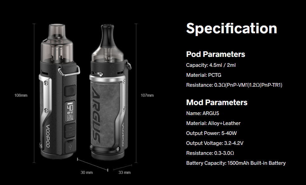 VOOPOO ARGUS POD MOD KIT SPECIFICATIONS