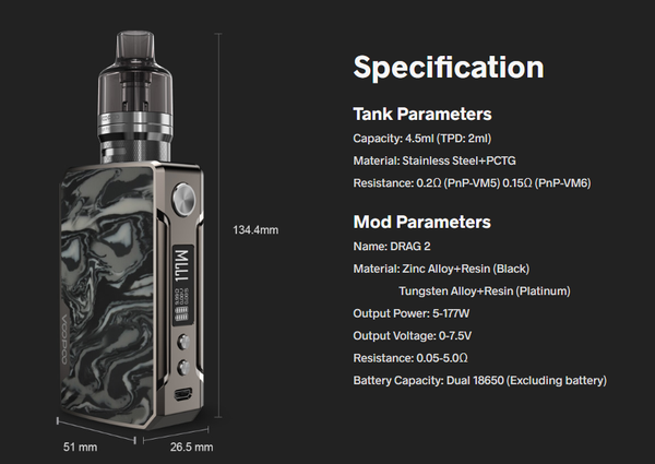 Drag 2 Refresh Specifications