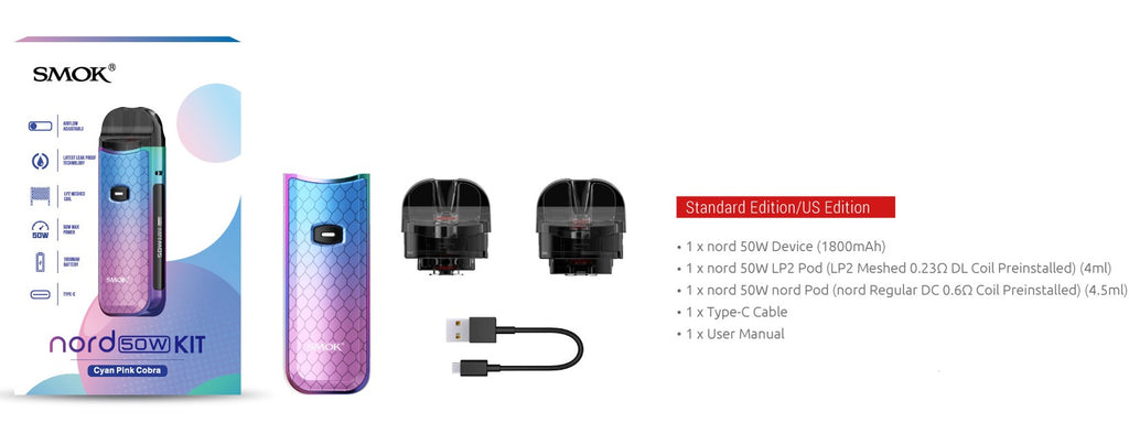 SMOK NORD 50 SPECIFICATIONS