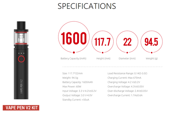 Smok Vape Pen V2 Specifications