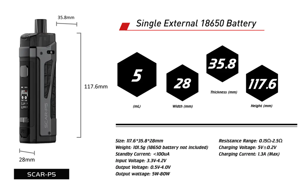 Smok Scar P5 Specifications