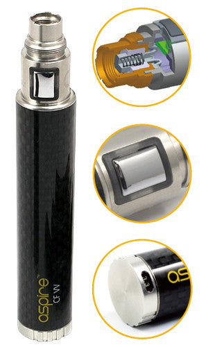 Aspire CF-VV Variable Voltage Carbon Fiber Battery, 1600 Mah - Big D Vapor - 1