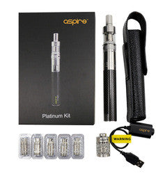 Aspire Platinum Kit with 2000mah CF Sub Ohm, Atlantis, Charger, Coils, and Case