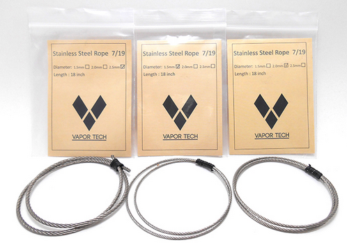 "Stainless Steel Wire Rope Wick 18"" Strands 7x19 Braid - Big D Vapor - 1"