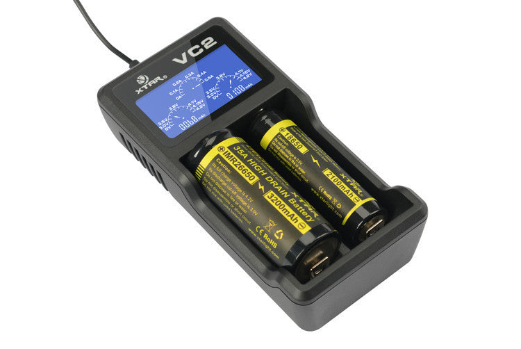 XTAR VC2 Fully Automatic Digital Charger Kit with LCD Display - Big D Vapor - 1