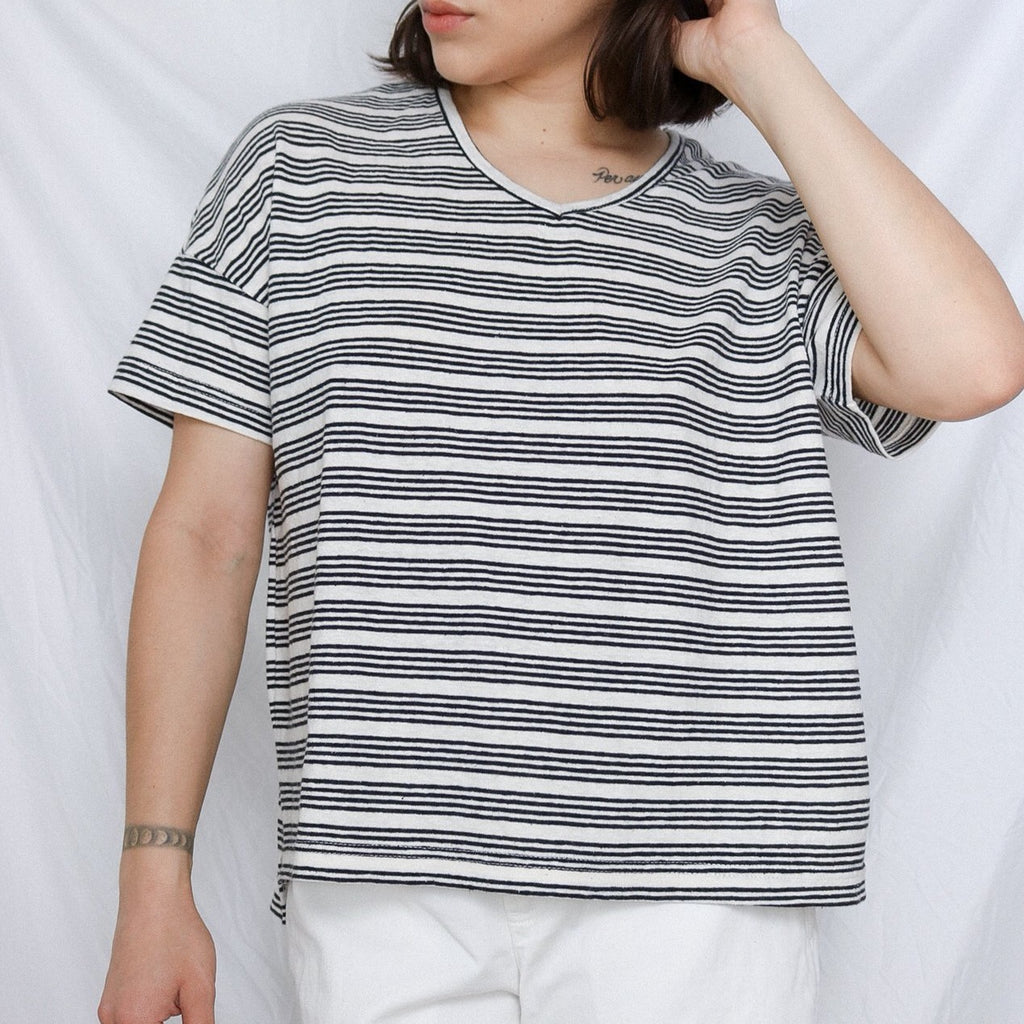 Striped V-Neck Tee - SHOWFIELDS