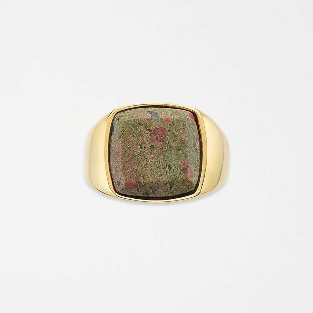 DIEGO BARRUECO 15MM SQUARE GREEN STONE SIGNET RING - SHOWFIELDS