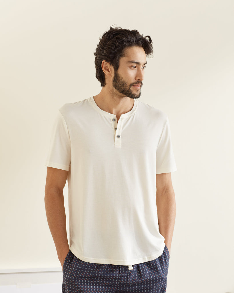 UpWest Short Sleeved Henley Tee in Winter White