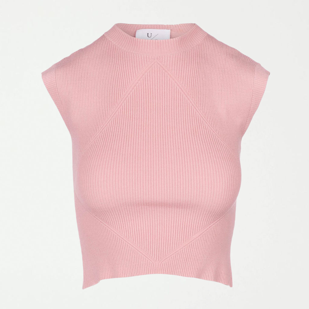 Rib Cap Sleeve Knit Top - Power Pink - SHOWFIELDS