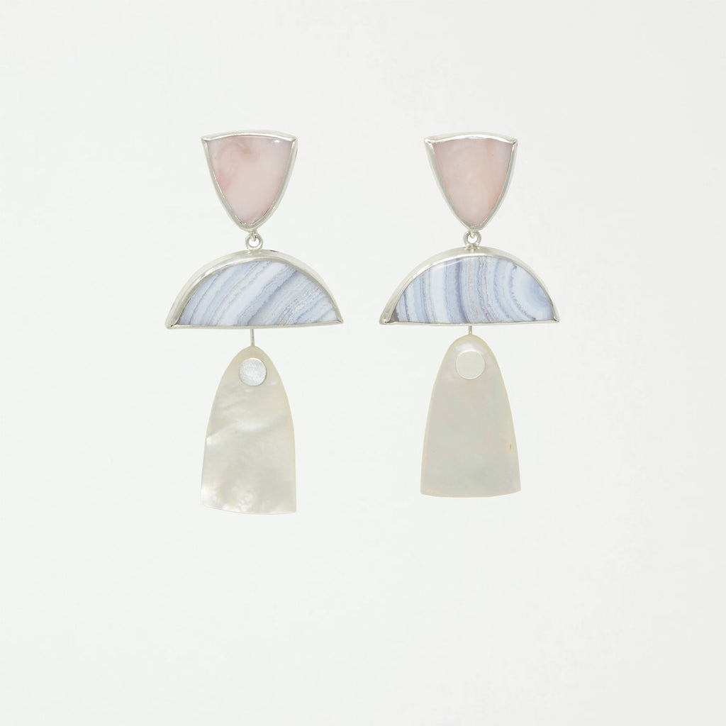 TRIO Drops / Pink Opal, Blue Lace Agate, Mother of Pearl - SHOWFIELDS