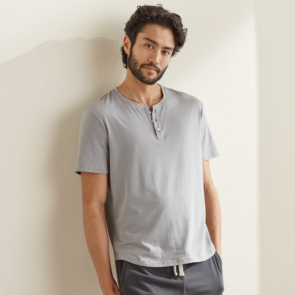 UpWest Short Sleeved Henley Tee in Stardust