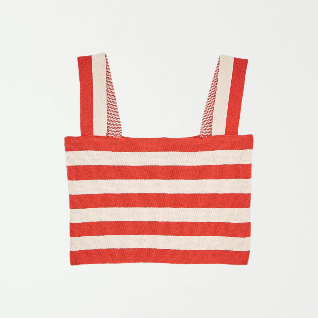 RED STRIPED CROP TOP - SHOWFIELDS