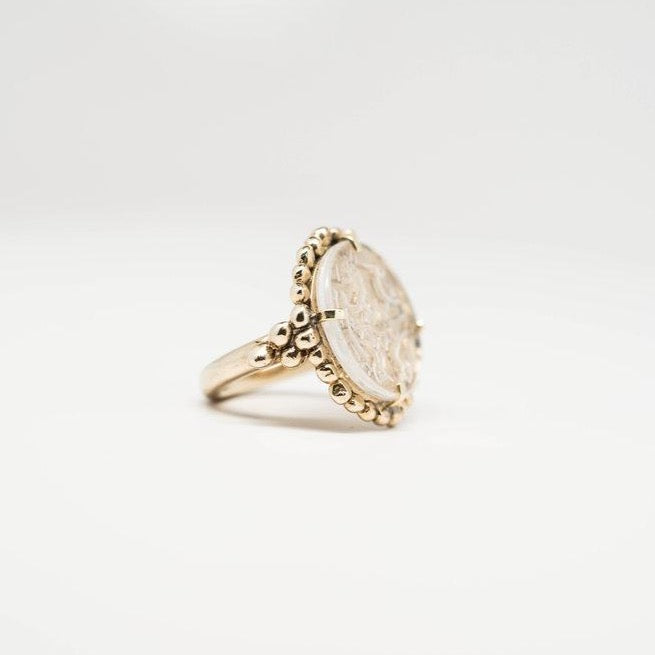 Rising Phoenix Cameo Signet Ring - Clear Quartz - SHOWFIELDS