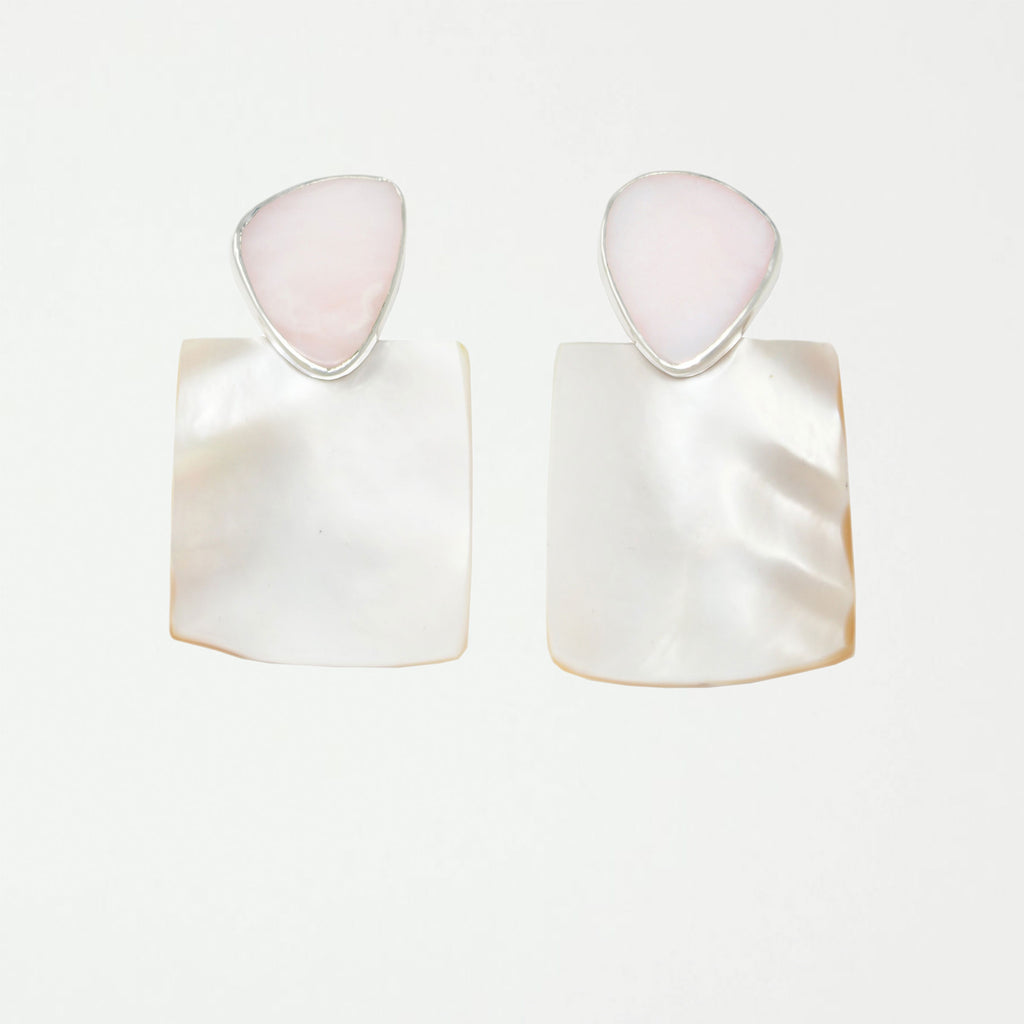PENDULUM Earring / Mother of Pearl + Pink Opal - SHOWFIELDS