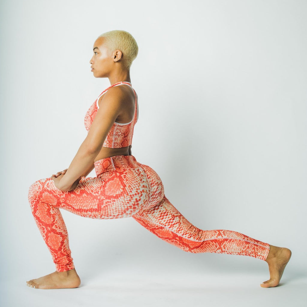 Orange 'Safi' Snake Print Yoga Leggings - SHOWFIELDS