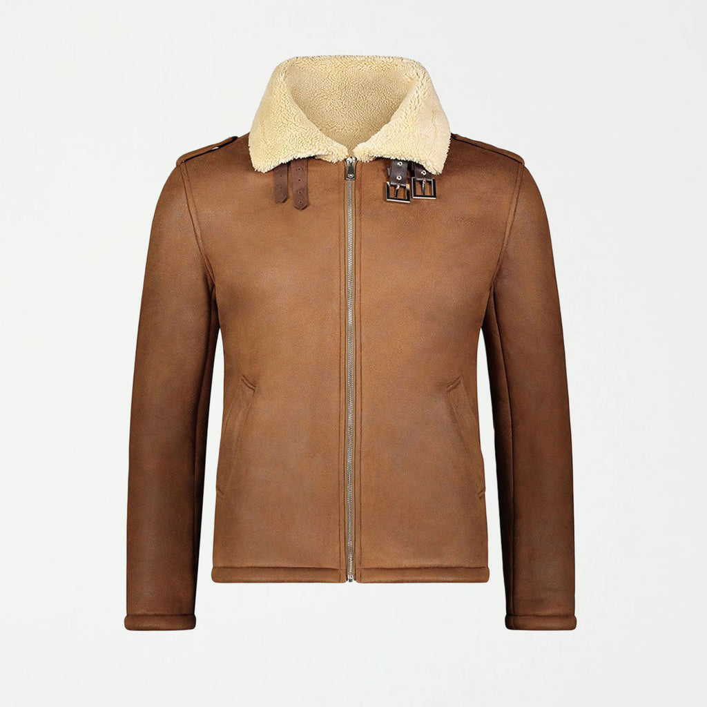 SG Shearling Aviator Jacket - Brown - SHOWFIELDS