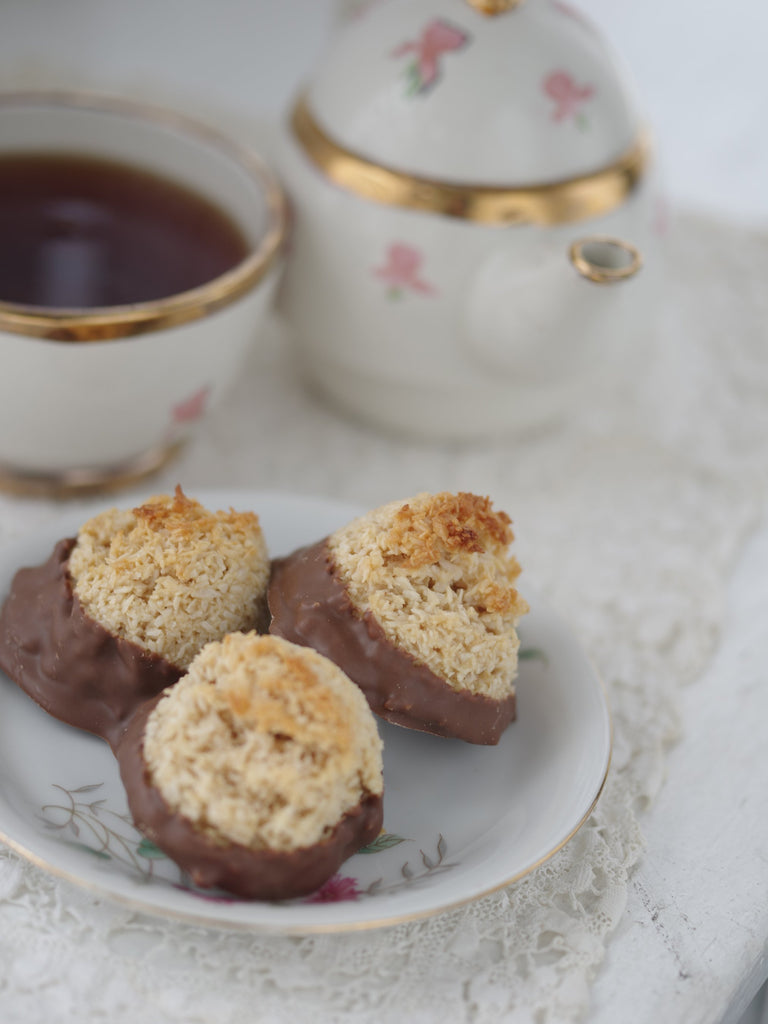 Chocolate Dipped Coconut Macaroon Bites - SHOWFIELDS
