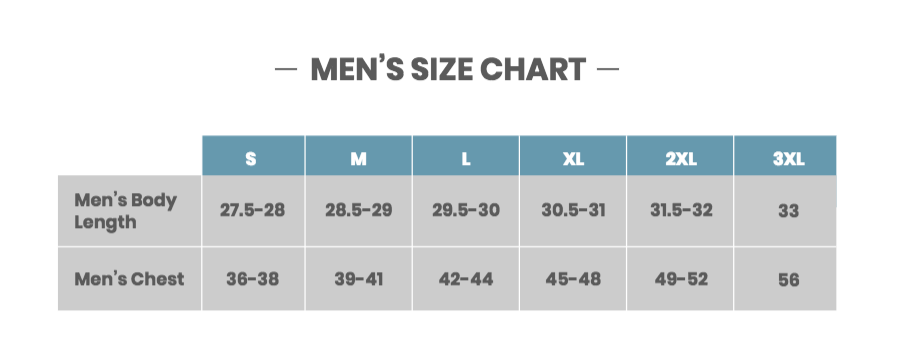 Men's Size Chart | Valve Clothing