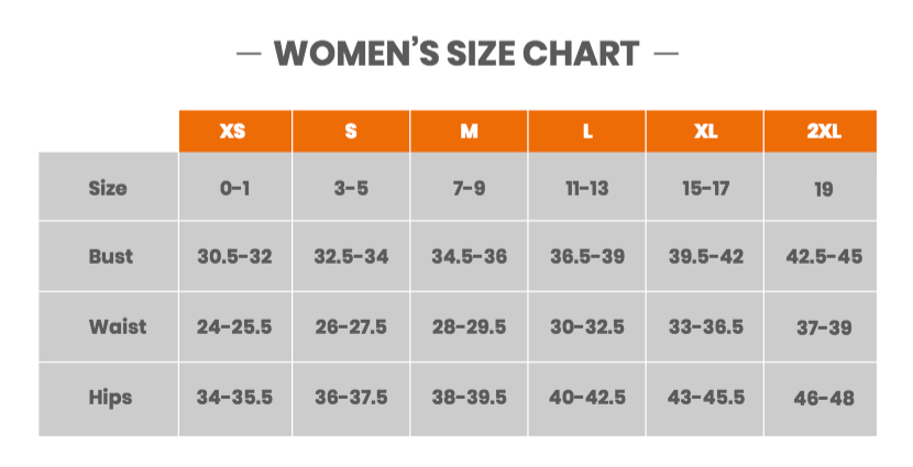 Women's Size Chart | Valve Clothing