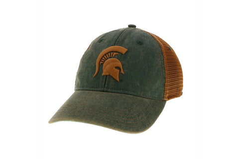 Legacy Green and Copper Trucker Hat with Copper Spartan Helmet