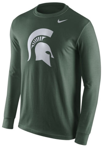 Nike Michigan State Spartans Green Logo Long Sleeve T Shirt