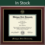 Church Hill Gold Embossed Diploma Frame in Gallery with Black and Tartan Green Mat (Bachelor's/ Master's)