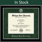 Church Hill Silver Engraved Medallion Diploma Frame in Onyx Silver with Green Suede Mat (Bachelor's/ Master's)