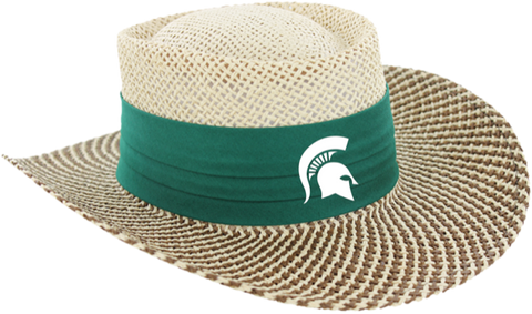 Ahead Michigan State Gambler Straw Hat Green Helmet