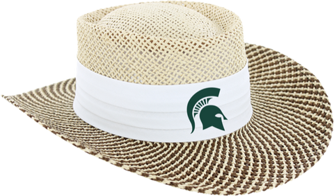 Ahead Michigan State Gambler Straw Hat White