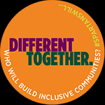 Round Celluloid Button Pin Orange - Building Inclusive Communities