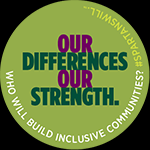 Celluloid Button Pin Green - Building Inclusive Communities