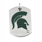 Beliza Green Enamel Helmet Necklace Charm .01 CT