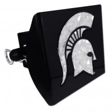 Elektroplate Michigan State (Reflective Silver Decal) PLASTIC Black Hitch Cover