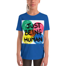 "Load image into Gallery viewer, ""JUST BEING HUMAN""  Original artwork by Harper Bizarre Art on your Youth T-shirt"