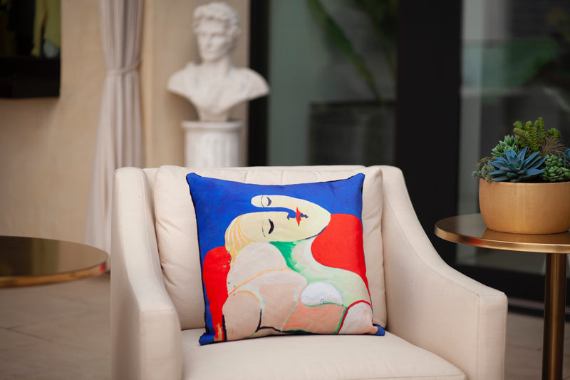 "SITTING SIDEWAYZ VELVET PILLOW 22"" x 22"" - [collection]"