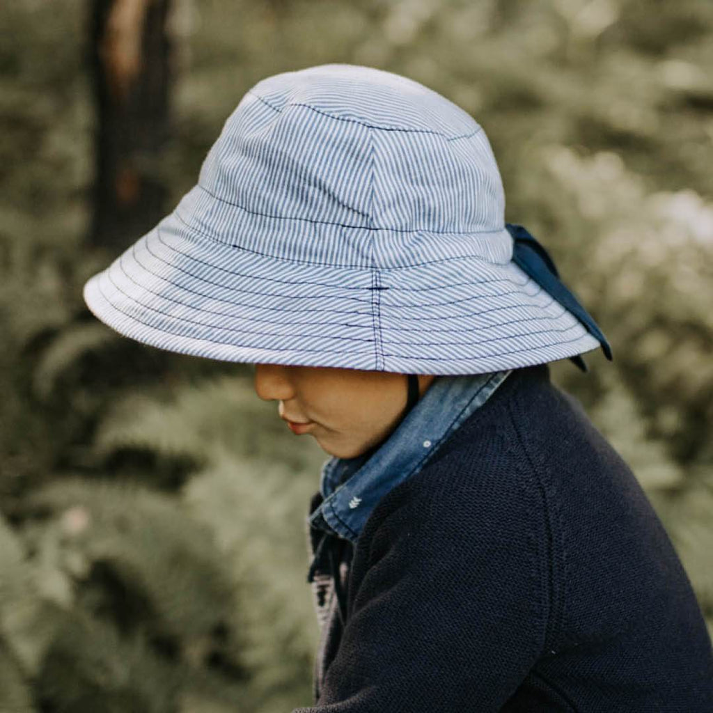 Stripe Linen Reversible Sun Hat Hats Leosun