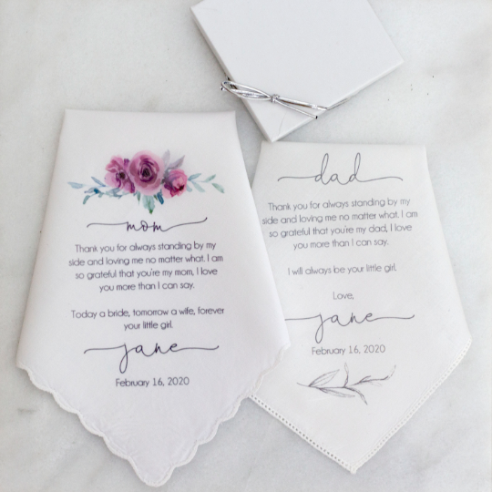 Parents of the Bride Printed Handkerchief Set
