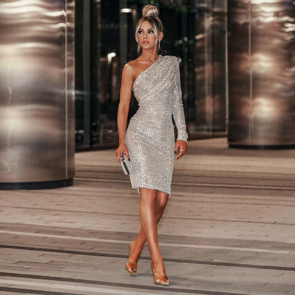KRISTI SILVER SEQUIN DRESS - IvyJewels