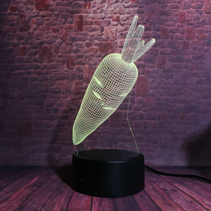 Carrot 3D LED Illusion Night Light Lamp