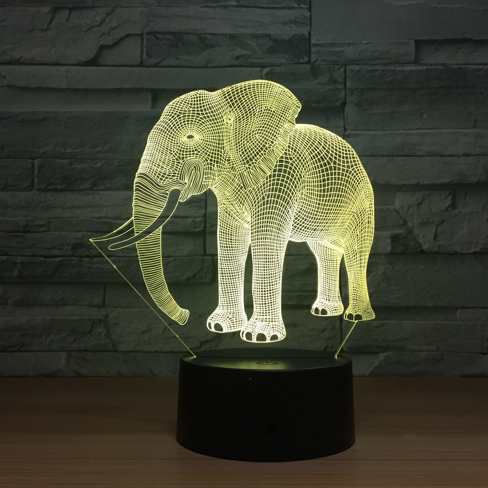 Elephant 3D LED Illusion Night Light Lamp