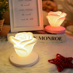 Rose Flower Silicone USB Rechargeable Night Light Lamp